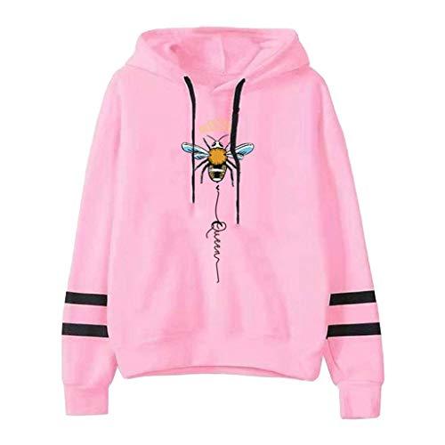 ReooLy Suéter con Capucha de Manga Larga con Bloques de Color y Barras paralelas con Estampado de Abejas Ladies(D-Rosado,M)