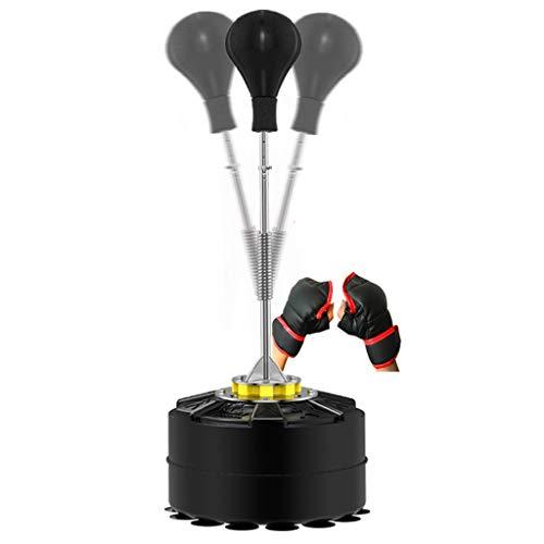 DWW Professionelles Boxball-Set for Kinder Und Erwachsene - Reflex Boxsack Freistehend, Höhenverstellbares Stahlrohr, Boxhandschuhe, Fitnesstrainingstasche, Rot/Schwarz (Color : Black)