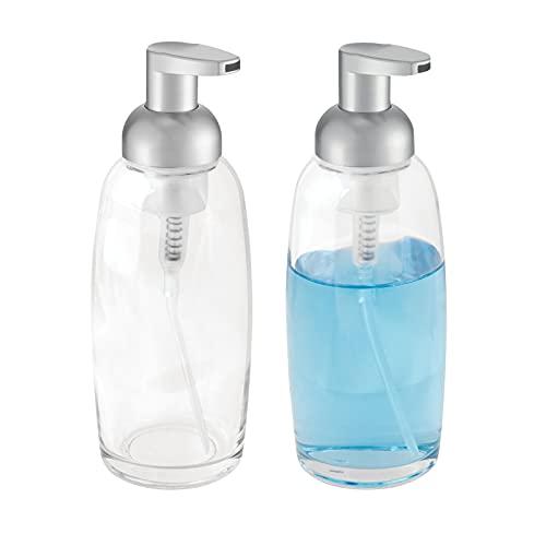 mDesign Modern Glass Refillable Foaming Soap Dispenser Pump Bottle for Bathroom Vanity...