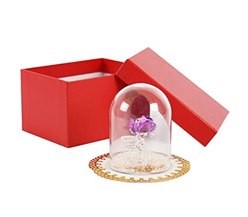 Rosa de cristal en cúpula de cristal, figura de rosa ornamental, decoración con caja de regalo, regalo para el día de San Valentín, día de la madre, cumpleaños, aniversario de boda, lila