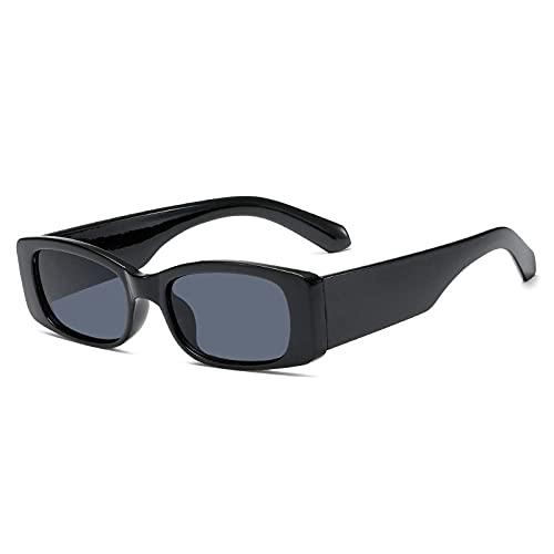 DLSM Moda Pequeño rectángulo Gafas de Sol Female Vintage Té Gafas Masculinas Sombras Masculinas UV400 Solar Gafas de Sol Adecuado para Playa, Golf, Viajes al Aire Libre-Gris Negro