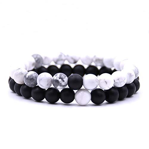 UINGKID Damen-Armband Charm Kreative Stilvolle 2 Stücke Männer Frauen 8mm Lava Rock Chakra Perlen Elastische Naturstein Achat
