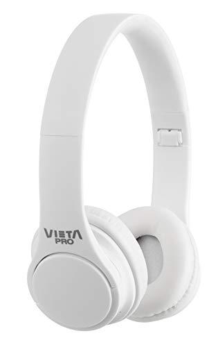 Vieta Pro Wave – Auriculares inalámbricos (Bluetooth, radio FM, micrófono integrado, entrada Auxiliar, reproductor Micro SD, plegables, autonomía 12 horas) blanco