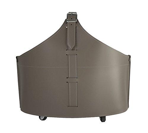 FABIA: Porte bûches en cuir de couleur Gris Tourterelle, Panier sac à bûches, Chariot à bois, Panier à granulés.