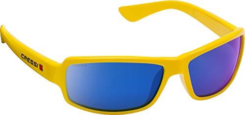 Cressi Ninja Sunglasses Gafas Polarizadas para Deportes con una Protección 100% UV, Adultos unisex, Amarillo-Lentes Espejadas Azul, Un Tamaño