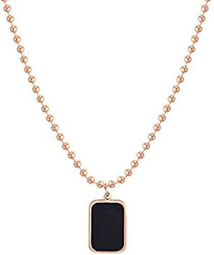 NONGYEYH co.,ltd Collar con Colgante Cuadrado Negro Collar Femenino Collar Masculino de Hueso