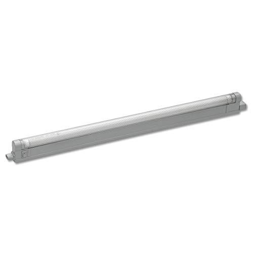StarLicht - Lámpara para parte inferior de muebles (40 cm, 1 tubo T4, 8 W, 3400 K, extensible, con interruptor), color plateado