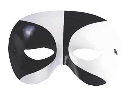 Forum Mardi Gras Masquerade Costume Voodoo Half Mask, Black/White, One Size