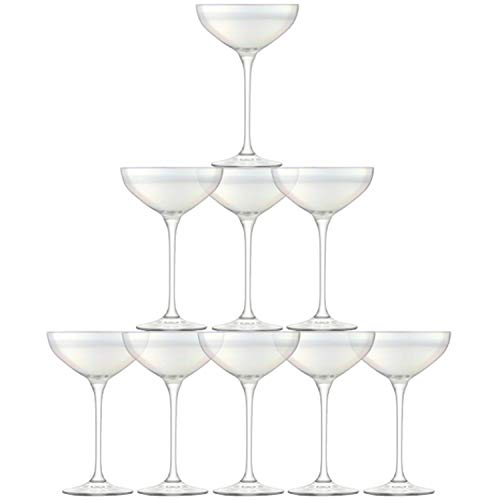 LSA International Mère de Perle Tour de Champagne, en Verre, Transparent, Lot de 10