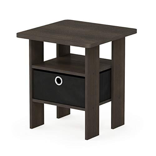 Furinno End Tables, Wood, Dark Brown/Black, one size