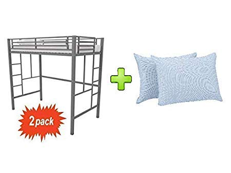"""Your Zone Indoor Metal Loft Bunk Twin Bed in Silver - Set of 2 with Blue/White Stripe 20"""" x 28"""" Huge Pillow - Bundle Set"""