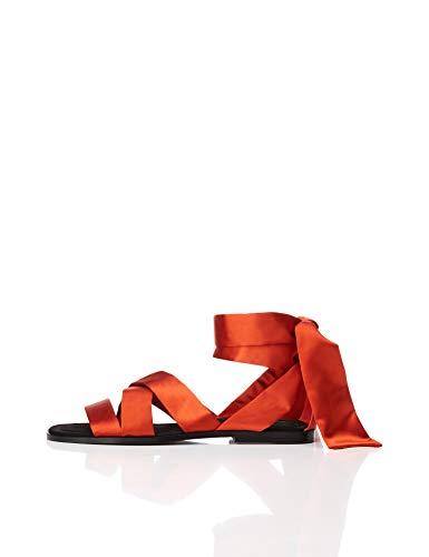 Marca Amazon - find. Satin Tie Up - Sandalias con punta abierta Mujer