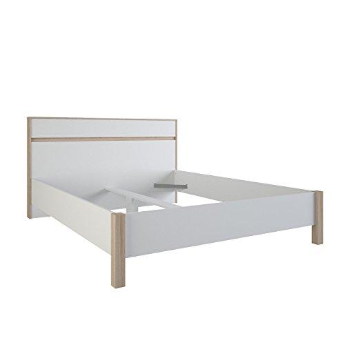 Demeyere Selena Bett, Spanplatte, Sonoma Eiche/Weiß, 167.9 x 216.3 x 98.3 cm