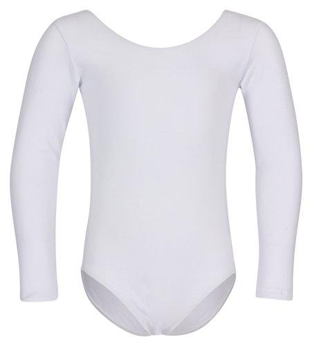tanzmuster ® Ballettanzug Mädchen Langarm - Lilly - (Größe 92-170) aus Baumwolle, Ballettbody Ballett Trikot in weiß, Größe 128/134