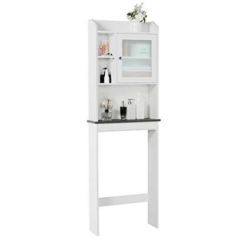 YAHEETECH Over The Toilet Bathroom Organizer, Wooden Modern Space Saver Storage Cabinet with Adjustable Shelf and Glass Door, White