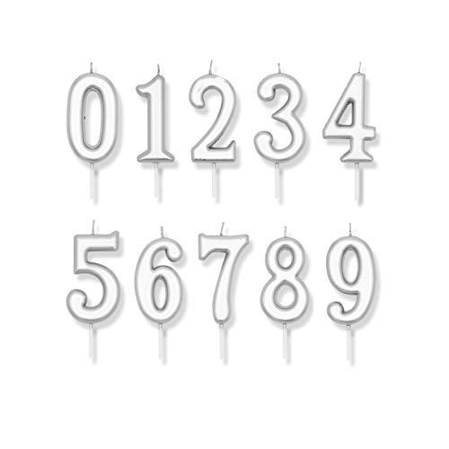 10 Pcs Vela de números de cumpleaños velas para tartas número 0 al 9 decoración aniversarios (Plateado)