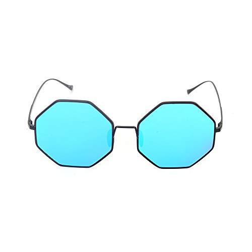 XFSE Gafas de Sol Gris Azul Moda De Hombre Y Mujer Moda Gafas De Sol Salvajes Gafas De Sol Poligonales Gafas (Color : Blue)