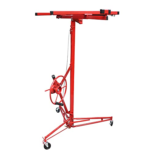 TINVHY 16FT Drywall Lift Plasterboard Panel Hoist Jack with Caster Construction Lifter Carrier Safety Lock