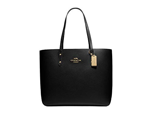 COACH Pebbled Leather Town Tote Black One Size