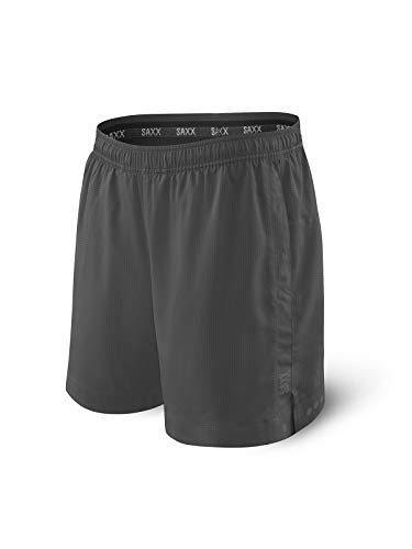 Saxx Men's Athletic Shorts – Kinetic 2N1 Sport Shorts - Men's Workout, Running and Training Shorts – Breathable Lined Active Shorts with Pockets,Dark Charcoal,Small