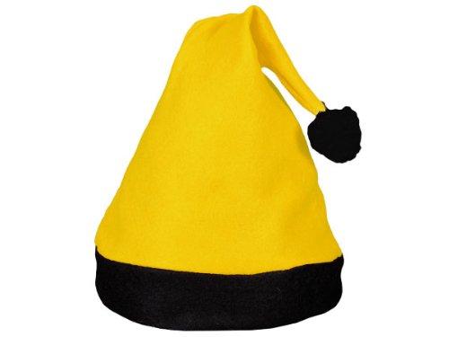 Alsino Weihnachtsmütze Nikolausmütze Weihnachtsmann Mütze, schwarz-gelb (wm-42a) - für Erwachsene & Jugendliche