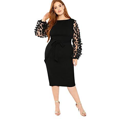 DIDK  Damen Netz Figurbetontes Kleid Schlauch Kleider mit Knoten Gürtel Stickerei Blumen Applikation, 3XL= EU 50, Schwarz Rundkragen