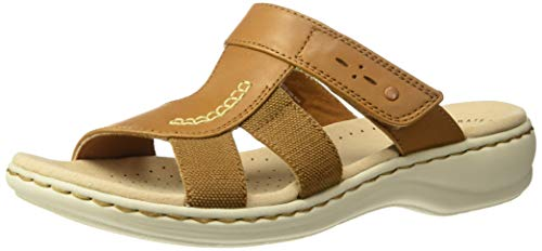 Clarks Women's Leisa Emily Sandal, tan Leather/Textile Combo, 050 M US