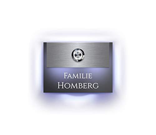 Designer Türklingel mit Gravur beleuchtetem Namensschild LED-Klingelknopf und über 100 Motive | Modell: Homberg-L | 11x8 cm Klingel-Taster Klingelschild Klingelplatte beschriftet | Beleuchtung