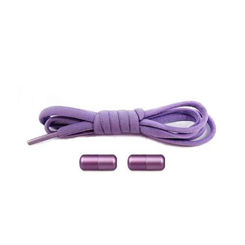 WTMLK Elastische Schnürsenkel ohne Krawatte Halbkreis-Schnürsenkel für Kinder und Erwachsene Turnschuhe Schnürsenkel Quick Lazy Metal Lock Laces Schuhschnüre, alle lila, China