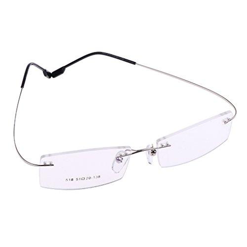 MagiDeal Halbrahmen Rahmenlose Brillen Rahmenlose Brillen Aus Metall - Silber