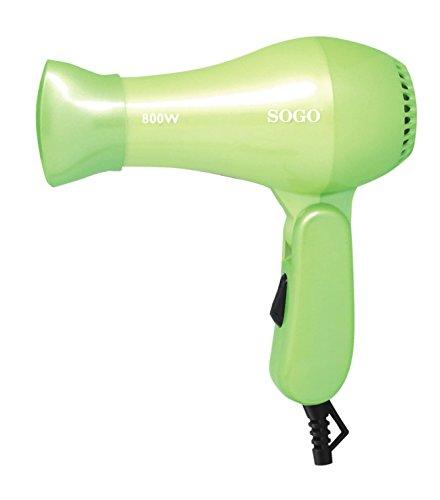 SOGO Secador de Pelo de Viaje Plegable, Secador Portátil Color Verde 800W - SS-3615-G