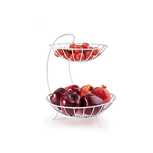 XZBXGZWY Fruit Holder Grape Tomatoes Banana Holder Stand 2 Tier Metal Fruit Basket Storage Basket, 26.5 * 31cm/10.4×12.2Inch (Color : White)