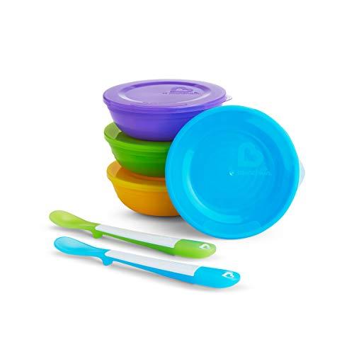 Munchkin Love a Bowls Récipient de Conservation des Aliments 4 Bols/Couvercle + 2 Cuillères, Multicolore