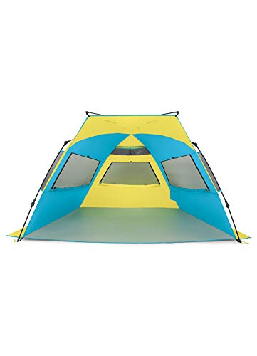 RBX XL Quick Setup Family Size Beach And Activity Tent   Water Resistant   Sun Shelter (Blue and Yellow)