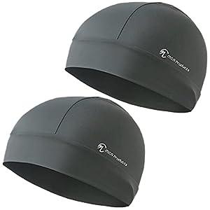 MCA Products [Amazon限定ブランド] 冷感 ヘルメット インナーキャップ UPF50+ 紫外線カット 色数豊富 スポーツ サイクリング アウトドア 普段使い可 ビーニー 吸水速乾 高通気性 フリーサイズ 男女兼用 (チャコールグレー 2枚組)