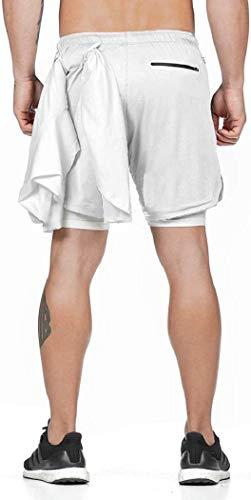 ASKSA Trainingshose Laufhose Herren 2 in 1 Shorts Laufshorts Dual Kurze Sporthose Männer Fitness Sport Hosen(Weiß,L)