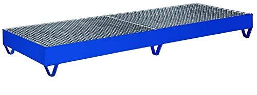 Auffangwanne mit Gitterrost für 4 Fässer a 200 Ltr RAL5010 Enzianblau Fasswanne