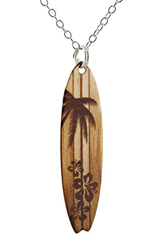 Wood Grain Surfboard Coated Stainless Steel Pendant Necklace w/ Palm Tree and Hibiscus 18