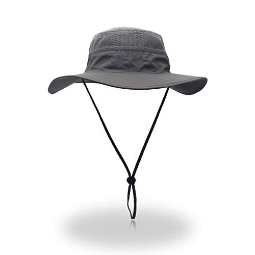 EONPOW Sonnenhut Herren Damen UV Schutz Sonnenschutz Kopf Faltbar Wanderhut Gartenhut Boonie Fischerhut, Grau, Einheitsgroesse