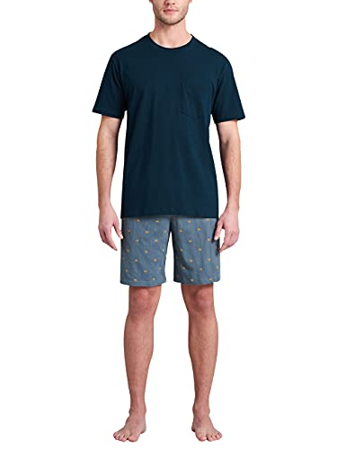 Schiesser Herren Schlafanzug kurz Pyjamaset, dunkelblau, 50