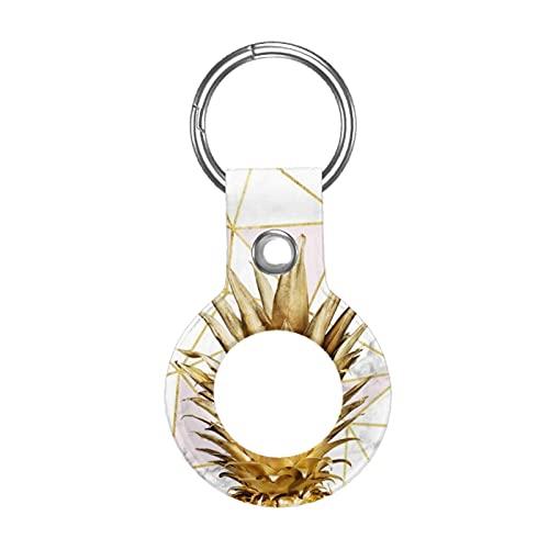 Funda de cuero para Apple Airtag Tracke Keychain, oro rosa dorado geométrico piña compatible con el buscador de etiquetas de aire
