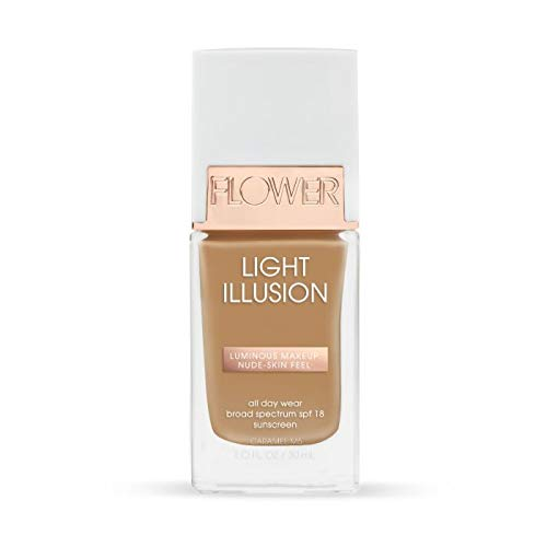 Flower Beauty Light Illusion Foundation with SPF 18 - Liquid Foundation Makeup with Buildable Coverage & Breathable/Lightweight Formula - Natural Complexion (Caramel)