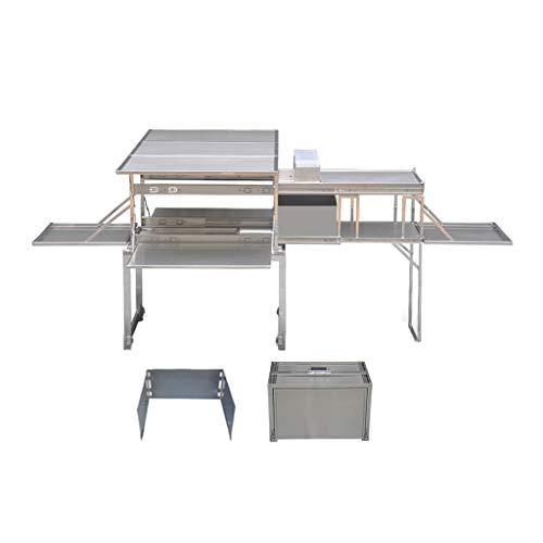 XDD Cocina de Camping 304 De Acero Inoxidable Superior E Inferior de 3 Zonas, Mesa De Parrilla Plegable para Picnics, Tailgating, Camping Y Patios Traseros 1600x930x685MM