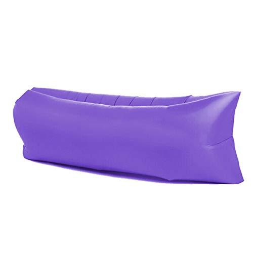 nbvmngjhjlkjlUK Schnelle aufblasbare Lazy Couch im Freien, schnelles aufblasbares Sofa Mittagspause Lazy Bed Tragbares Luftsofa Strand Polyester Stoff Schlafsack (Lila, Oxford Stoff)