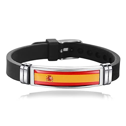 Unifree Pulsera de Silicona con Bandera Nacional [España] Pulsera de Acero Inoxidable, tamaño Ajustable, Pulsera para fanáticos del fútbol