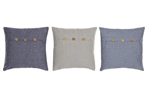Cojín Algodón con Funda Precioso Diseño de 3 Botones para Cama o Sofá - 1Unidad - Medidas: 40x40x12cm - 3 Colores a Escoger (Beige)