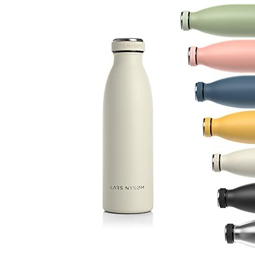 LARS NYSØM Trinkflasche Edelstahl 500ml   BPA-freie Isolierflasche 0.5 Liter   Auslaufsichere Wasserflasche für Sport, Fahrrad, Hund, Baby, Kinder