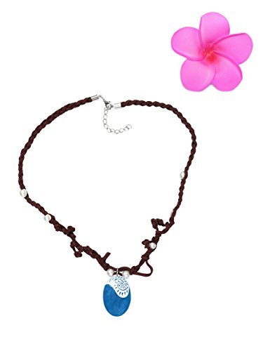 Muababy Girls Moana Necklace with Hawaii Flowers (Necklace with Flower)