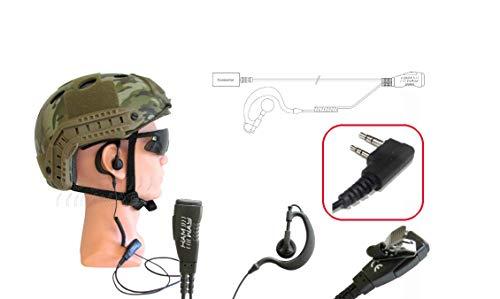 HAM-WAY EG-02C - Microauricular con soporte de cable en espiral para Kenwood/WOUXUN/POLMAR/BAOFENG