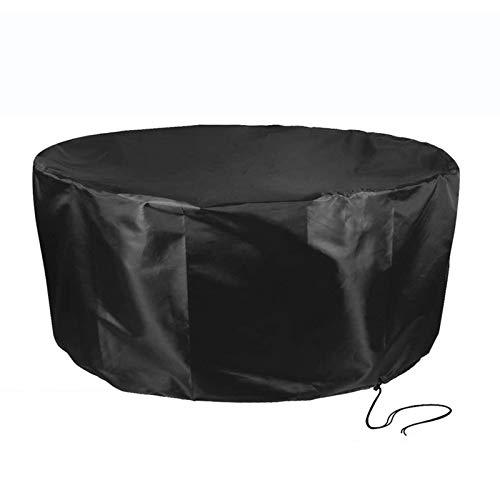 XJHKG Cubiertas para Muebles De Mesa De Jardín, Redondo Cubierta Impermeable para Juego De Muebles De Patio A Prueba De Viento Y Anti-UV, Negro (188x84cm)